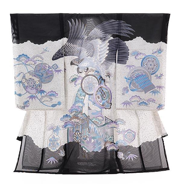 夏用 男児産着レンタル(お宮参り)1206 絽 黒地 鷹に小槌