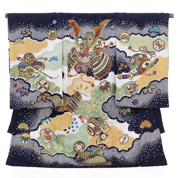▶男児産着(お宮参り)1215 ChouChou紺 兜と小槌