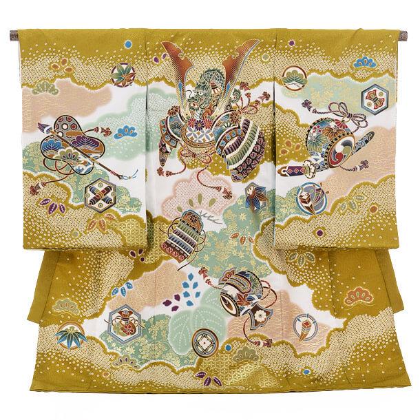 ▶男児産着(お宮参り)1216 ChouChou金茶 兜と小槌
