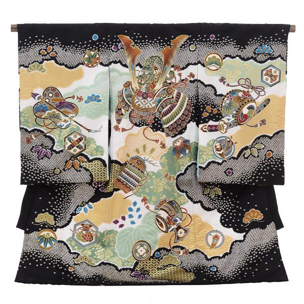 ▶男児産着レンタル(お宮参り)1217 ChouChou黒 兜と小槌
