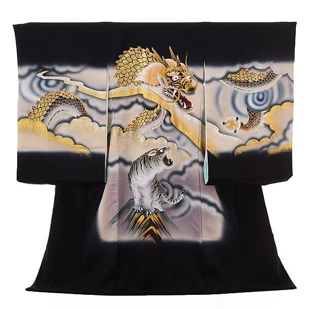 高級正絹産着レンタル 男の子(お宮参り)1228 金箔 龍と虎