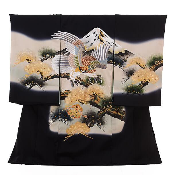 高級正絹産着レンタル 男の子(お宮参り)1229 刺しゅう 鷹と富士