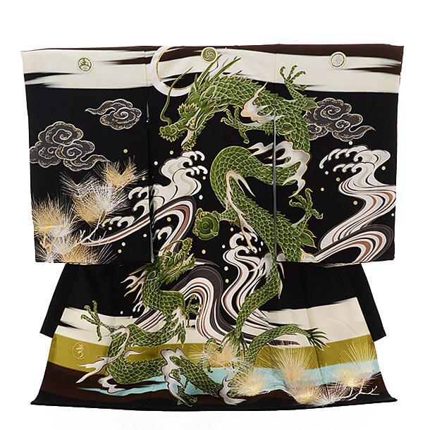 産着レンタル 男の子(お宮参り)1245 九重 黒×茶 龍