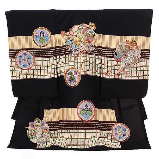 ▶男児産着(お宮参り)正絹 1250 黒地 小槌に絞
