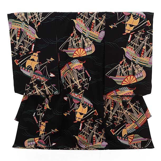 ▶男児産着(お宮参り)正絹 1251 黒地 帆船