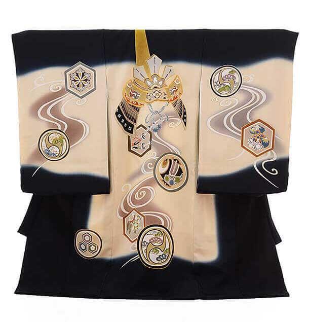 ▶男児産着(お宮参り)正絹 1254 黒地 前田家兜