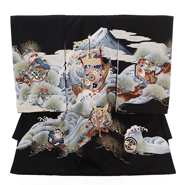 ▶男児産着(お宮参り)1271 黒地 富士に宝舟