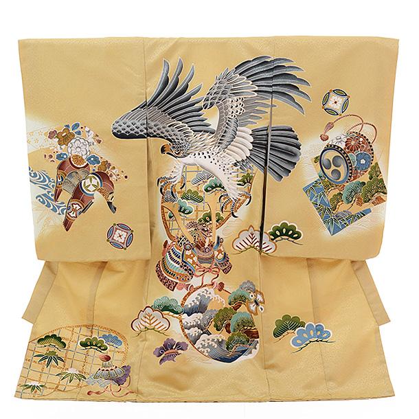 ▶男児産着(お宮参り)1272 ベージュ地 かぶと 鷹