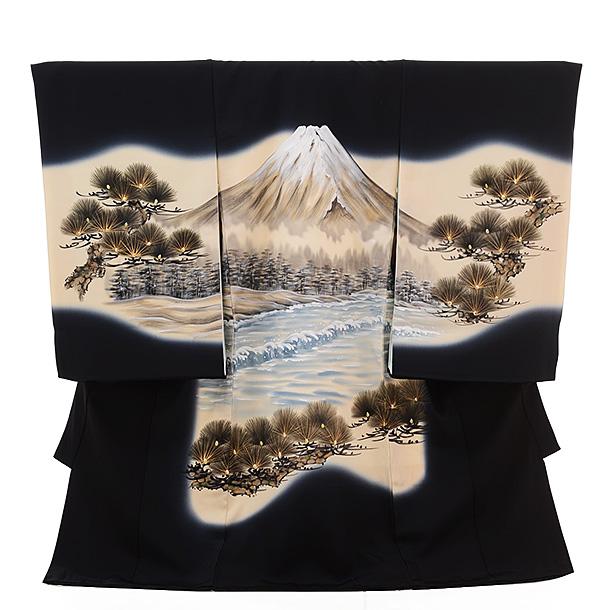 ▶男児産着(お宮参り)正絹 1275 黒地 富士