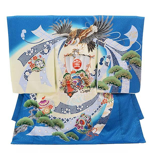 ▶男児産着(お宮参り)1299 ターコイズ地 宝舟に鷹