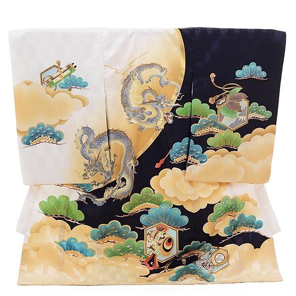 ▶男児産着(お宮参り)1308 白×紺 松に龍