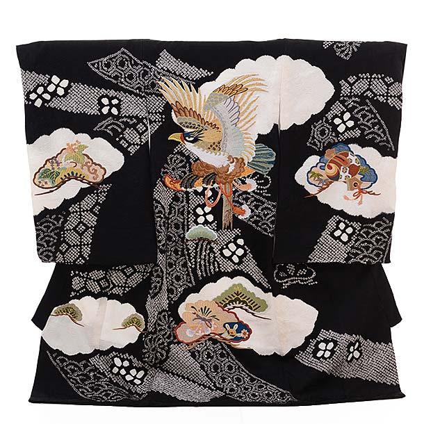 ▶男児産着(お宮参り)正絹 1310 黒地 絞りのしめ 鷹刺繍