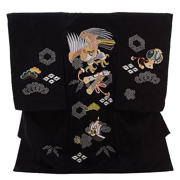 ▶男児産着(お宮参り)正絹 1311 黒地 絞り 鷹に巻物刺繍