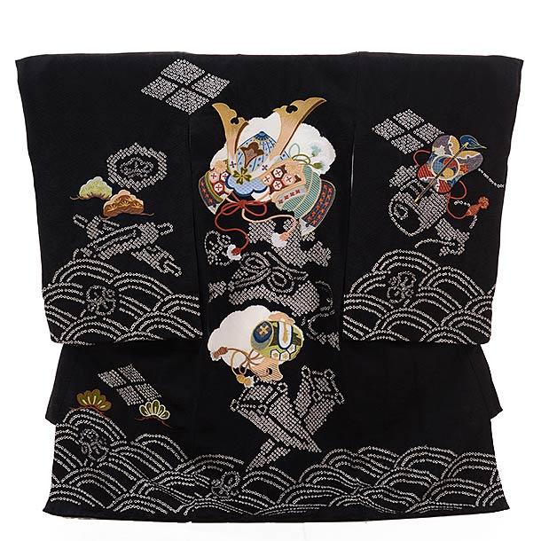 ▶男児産着(お宮参り)正絹 1312 黒地 絞り かぶと刺繍