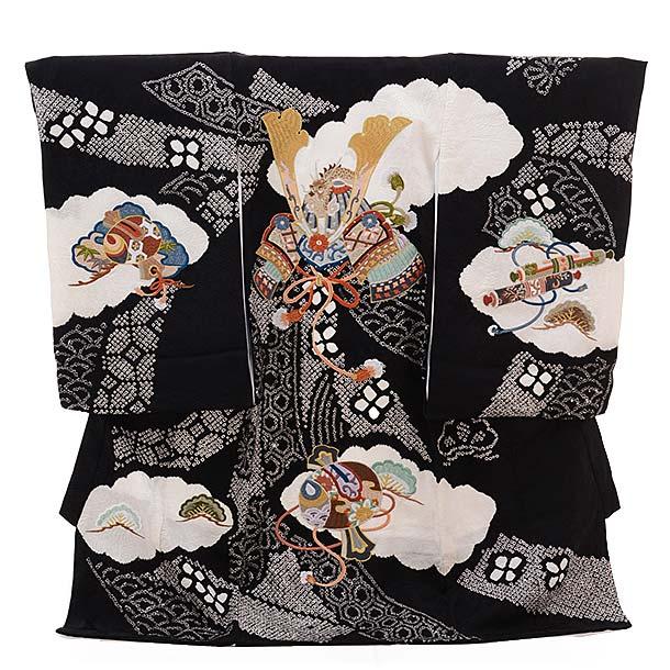 ▶男児産着(お宮参り)正絹 1313 黒地 絞りのしめ かぶと刺繍