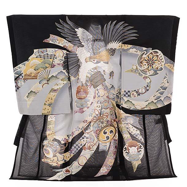 ▶男児産着(お宮参り)正絹 絽 1333 黒地 束ねのしに鷹