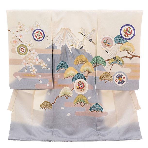 令和記念 高級正絹男児産着 お宮参り 正絹 1335 白地 富士に鶴