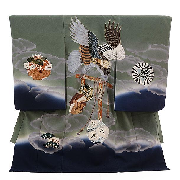 ▶男児産着(お宮参り)正絹 1336 グリーングレー地 雲に鷹