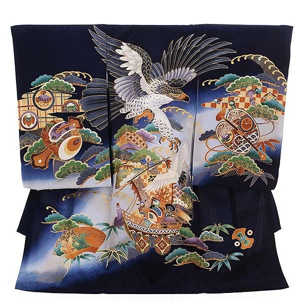 ▶男児産着(お宮参り)正絹 1343 宝舟に鷹