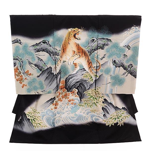 ▶男児産着(お宮参り)正絹 1347 黒地 波に虎