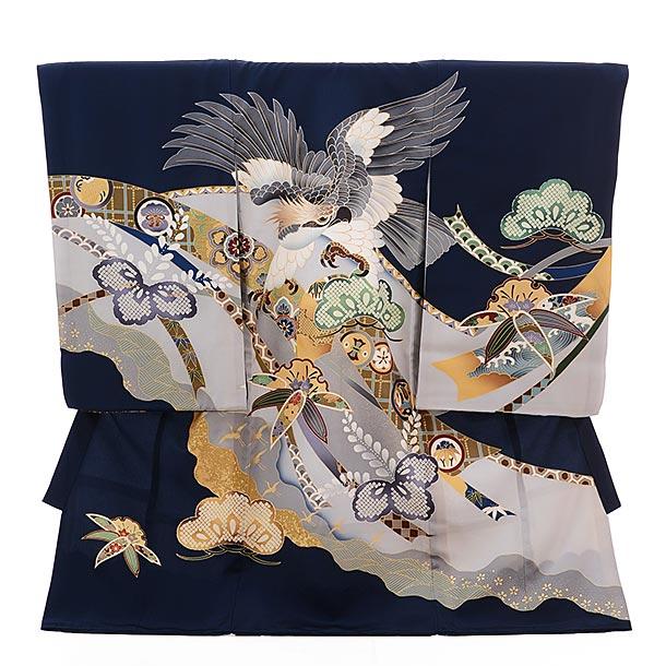 ▶男児産着(お宮参り)正絹 1348 紺地 のしに鷹