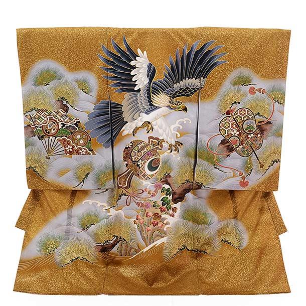 男児産着 お宮参り レンタル  正絹 1349 からしゴールド色 小槌に鷹