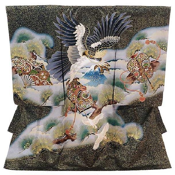 ▶男児産着(お宮参り)正絹 1350 深緑ゴールド色 宝に鷹