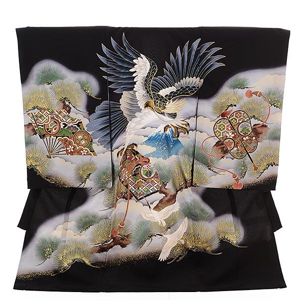▶男児産着(お宮参り)正絹 1351 黒地 宝に鷹