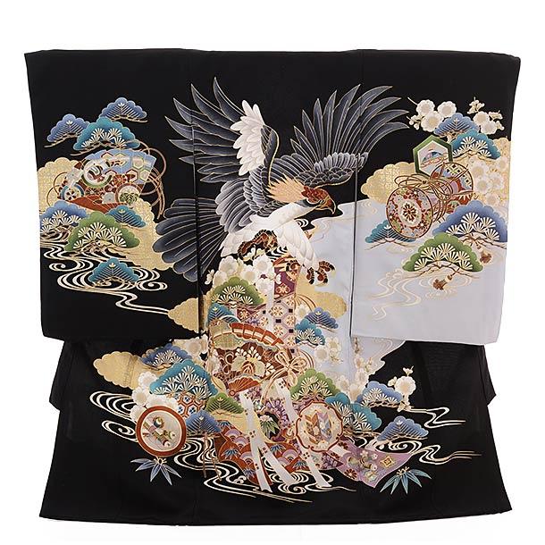 ▶男児産着(お宮参り)正絹 1352 黒地 のし 扇 鷹