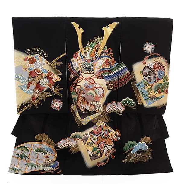 ▶男児産着(お宮参り)正絹 1381 黒地 かぶと 虎