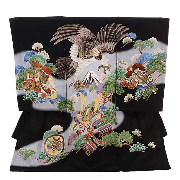 ▶男児産着(お宮参り)正絹 1382 黒地 かぶと 鷹
