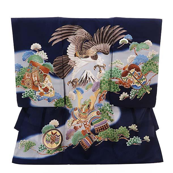 ▶男児産着(お宮参り)正絹 1384 紺地 かぶと 鷹