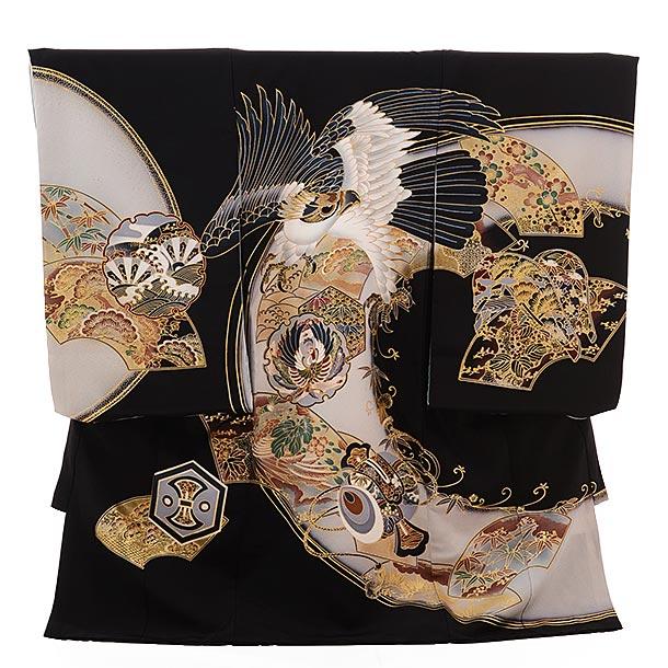 ▶男児産着(お宮参り)正絹 1388 黒地 雪輪に鷹