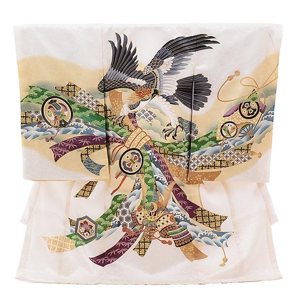▶男児産着(お宮参り)正絹 1389 白地 束ねのしに鷹