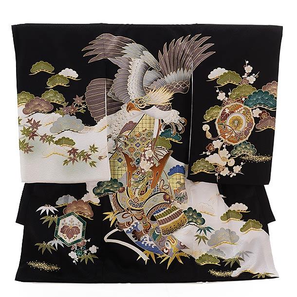 ▶男児産着(お宮参り)正絹 1398 黒地 かぶと 鷹