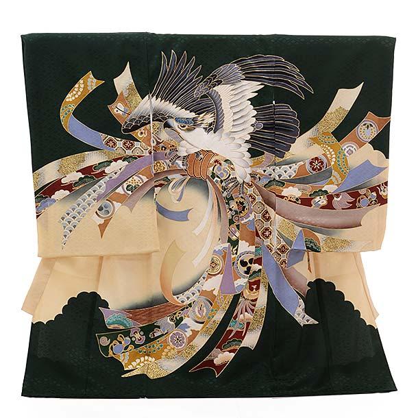 ▶男児産着(お宮参り)正絹 1404 緑地 束ねのし 鷹