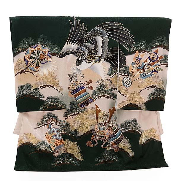 ▶男児産着(お宮参り)正絹 1405 緑地 かぶと 鷹