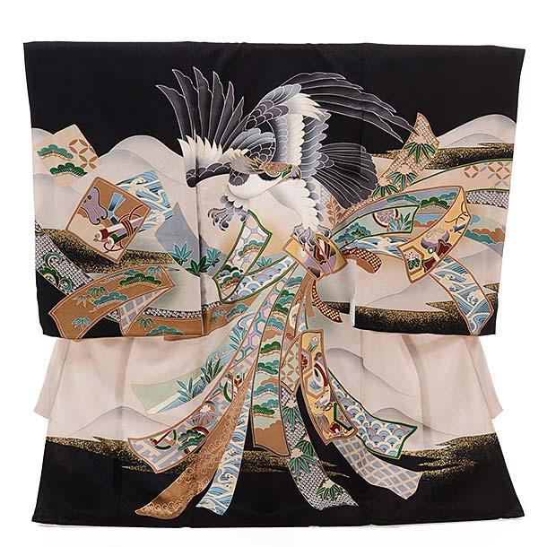 ▶男児産着(お宮参り)正絹 1407 黒地 束ねのし 鷹