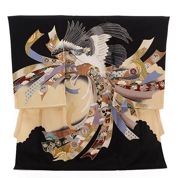 ▶男児産着(お宮参り)正絹 1409 黒地 束ねのし 鷹