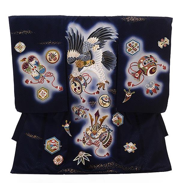 ▶男児産着(お宮参り)正絹 1410 紺地 宝尽しに鷹