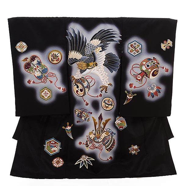 ▶男児産着(お宮参り)正絹 1411 黒地 宝尽しに鷹