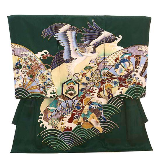 ▶男児産着(お宮参り)正絹 1412 緑地 波に鷹