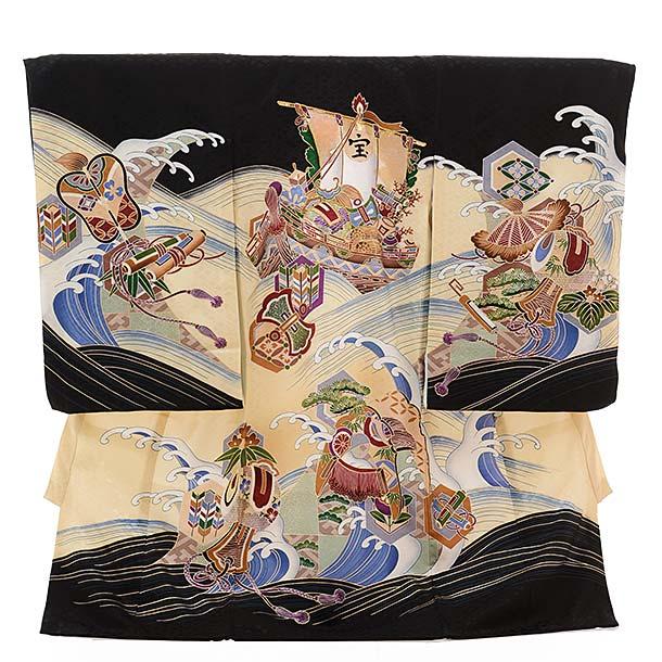 ▶男児産着(お宮参り)正絹 1417 黒地 波に宝舟
