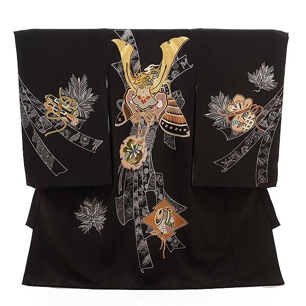 ▶男児産着(お宮参り)正絹 1451 チャコールグレー地 束ねのし 鷹