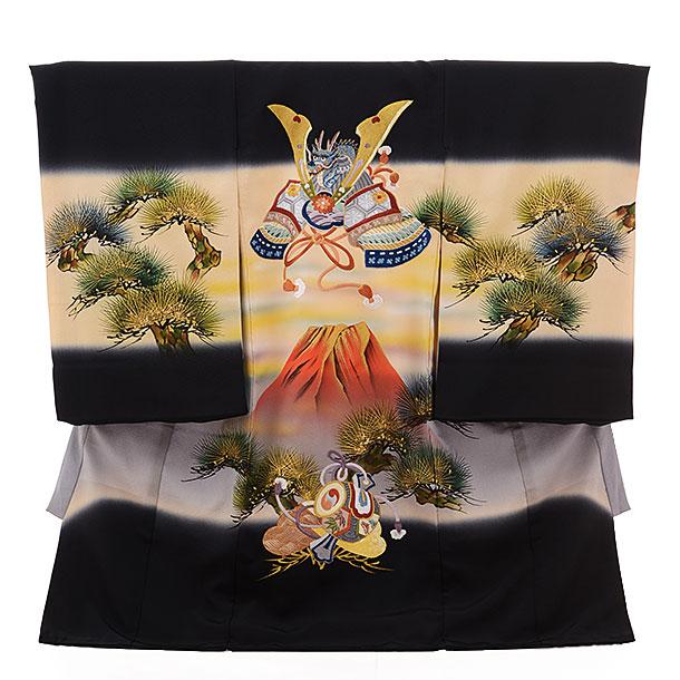 ▶男児産着(お宮参り)正絹 1452 黒地 赤富士にかぶと ししゅう