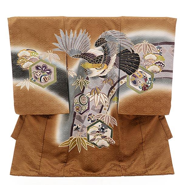 男児産着 お宮参り レンタル  正絹 1453 からし色地 笹に鷹