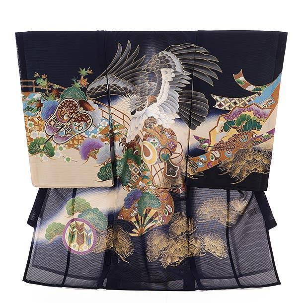 ▶男児産着(お宮参り)正絹 絽 1482 紺地 鷹に小槌
