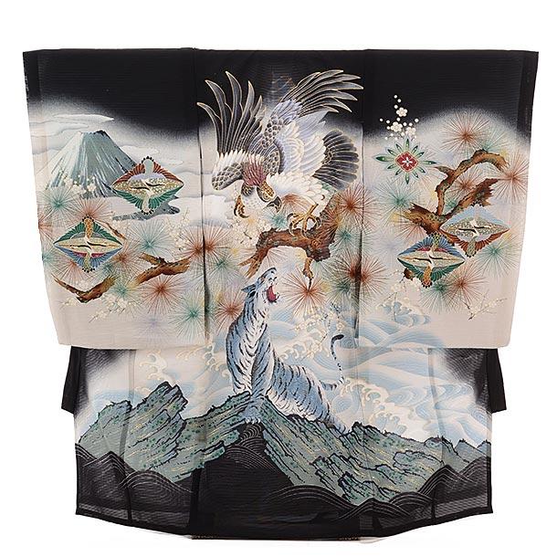 ▶男児産着(お宮参り)正絹 絽 1483 黒地 鷹に虎波
