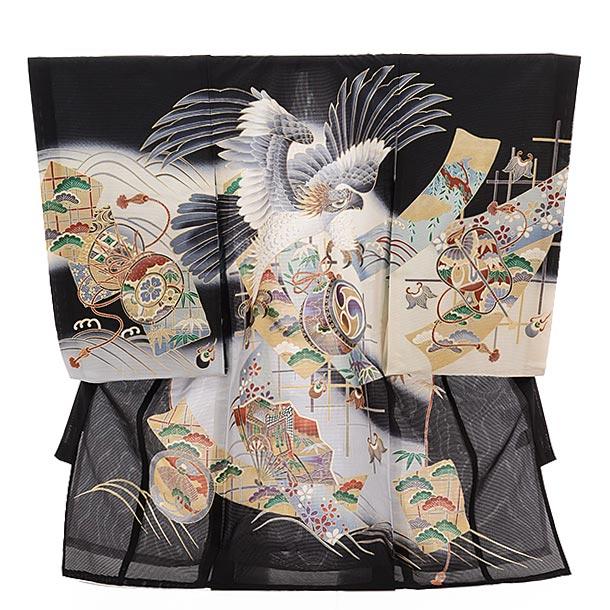 ▶男児産着(お宮参り)正絹 絽 1484 束ねのしに鷹