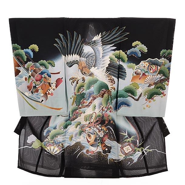 ▶男児産着(お宮参り)正絹 絽 1485 黒地 鷹に松と波涛
